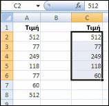 Αρχικές τιμές στη στήλη A και μοναδικές τιμές από τη στήλη A που δημιουργήθηκαν στη στήλη C