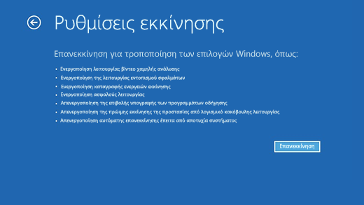Οθόνη 'Ρυθμίσεις εκκίνησης' στο Περιβάλλον αποκατάστασης των Windows.