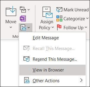 Μπορείτε να ανοίξετε ένα υπάρχον μήνυμα στον Internet Explorer.