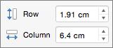 Γραμμή πίνακα και Ύψος και πλάτος στήλης στο PowerPoint για Mac
