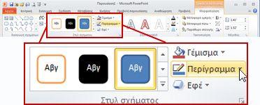 Στην περιοχή 'Εργαλεία σχεδίασης', η καρτέλα 'Μορφοποίηση' στην κορδέλα του PowerPoint 2010.