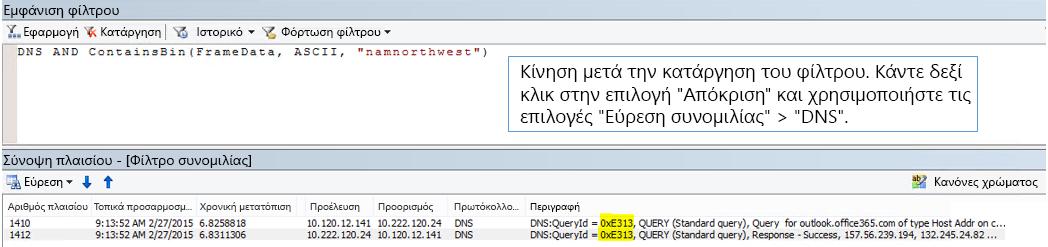 Μια ανίχνευση φιλτραρισμένη κατά εύρεση συνομιλιών και, στη συνέχεια, κατά DNS.