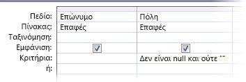 """Σχεδίαση ερωτήματος με κριτήρια όπου το πεδίο """"Πόλη"""" δεν έχει οριστεί σε null ούτε είναι κενό."""