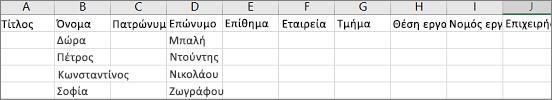 Παράδειγμα του αρχείου .csv Outlook ανοιχτή στο Excel
