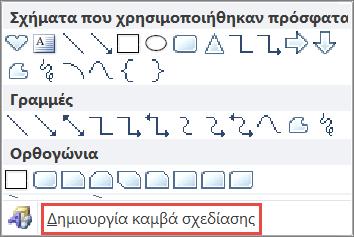 """Επιλογή """"Δημιουργία καμβά σχεδίασης"""" στο Word 2010"""