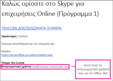 Ένα παράδειγμα του μηνύματος ηλεκτρονικού ταχυδρομείου καλωσορίσματος που λάβατε μετά την εγγραφή σας στο Skype για ηλεκτρονικές συναλλαγές. Περιέχει το αναγνωριστικό χρήστη του Office 365.