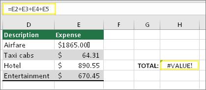 H4 με τιμή =E2+E3+E4+E5 και αποτέλεσμα #ΤΙΜΗ!