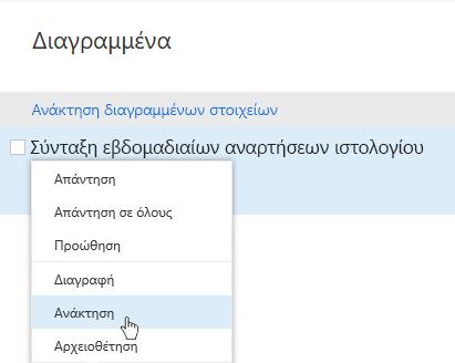 Στιγμιότυπο οθόνης που εμφανίζει το μενού ανάκτησης διαγραμμένων στοιχείων