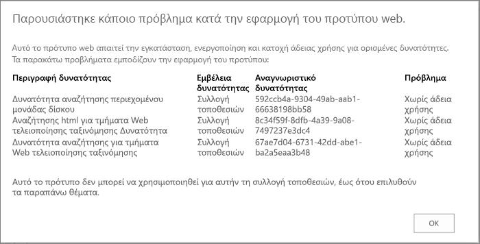 Στιγμιότυπο οθόνης ενός μηνύματος σφάλματος που μπορεί να εμφανιστεί εάν μη διαθέσιμες δυνατότητες αποτρέπουν τη δημιουργία μιας τοποθεσίας στο SharePoint Online.