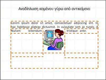 Διαφάνεια με αντικείμενο που έχει εισαχθεί, πλαίσια κειμένου που εμφανίζονται και ημιτελές κείμενο.