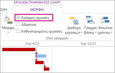 """Πλαίσιο ελέγχου """"Κρίσιμες εργασίες"""" στην κορδέλα και επισημασμένες ράβδοι Gantt στο Project 2013"""