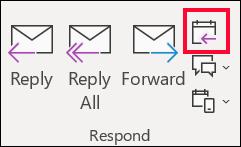 """Από ένα μήνυμα ηλεκτρονικού ταχυδρομείου, επιλέξτε """"απάντηση με σύσκεψη""""."""