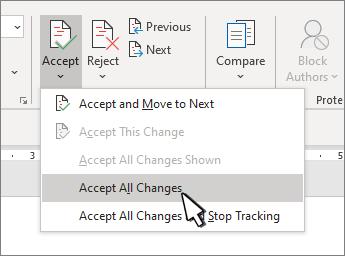 """Επιλογή """"αποδοχή όλων των αλλαγών"""""""