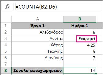 Συνάρτηση COUNTA με μια επιλογή περιοχής