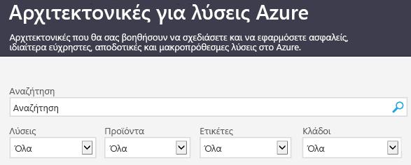 Η τοποθεσία λύσεων Azure αρχιτεκτονικής