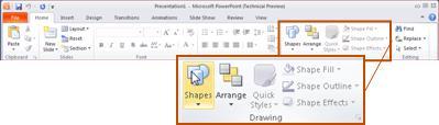 Η 'Κεντρική' καρτέλα στο PowerPoint 2010, στην ομάδα 'Σχέδιο'.
