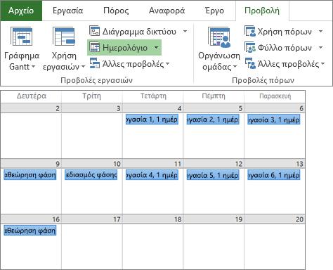 """Σύνθετο στιγμιότυπο οθόνης με τις ομάδες """"Προβολές εργασιών"""" και """"Προβολές πόρων"""" της καρτέλας """"Προβολή"""" και ένα σχέδιο έργου σε προβολή Ημερολογίου."""