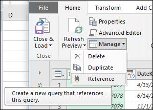 Power Query - Μενού διαχείρισης ερωτήματος στην Επεξεργασία ερωτήματος