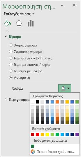 Επιλογές χρώματος γραφήματος του Excel Map για γραφήματα κατηγοριών