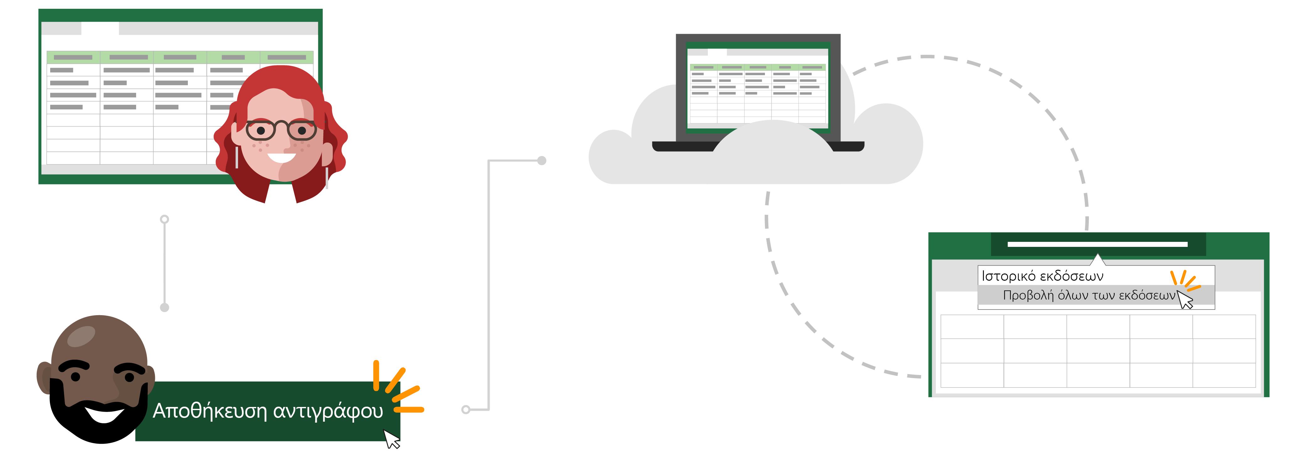 Χρήση ενός υπάρχοντος αρχείου στο cloud ως πρότυπο για ένα νέο αρχείο χρησιμοποιώντας Αποθήκευση αντιγράφου.