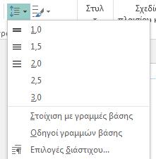 Στιγμιότυπο οθόνης του τρόπου αλλαγής του διάστιχου στον Publisher.