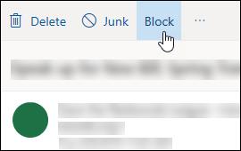 Επιλογή μπλοκ μηνύματος Outlook.com