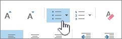 Κουμπιά κουκκίδων και αρίθμησης του Outlook
