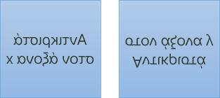 Παράδειγμα κειμένου με είδωλο: το πρώτο περιστρέφεται 180 μοίρες στον άξονα x και το δεύτερο περιστρέφεται 180 μοίρες στον άξονα y