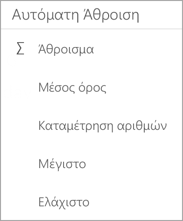 Tablet Android Excel άθροισμα