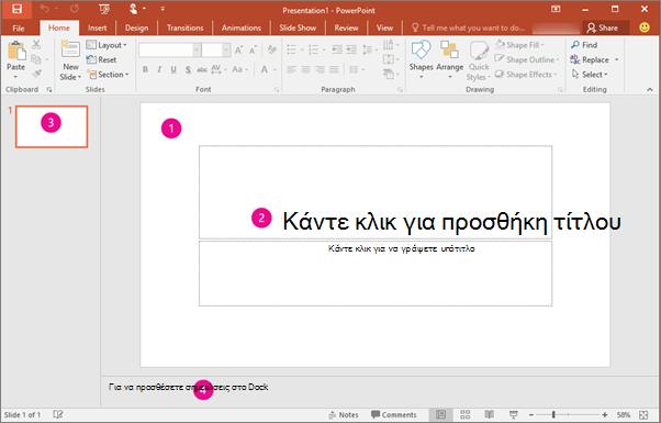 Εμφανίζει το χώρο εργασίας του PowerPoint