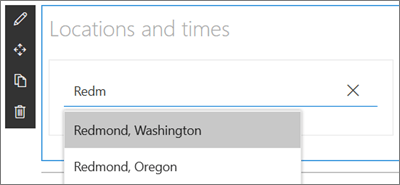 Το τμήμα Web παγκόσμιου Ρολογιού για τις τοποθεσίες του SharePoint, η εισαγωγή μιας τοποθεσίας και η επιλογή από ένα αναπτυσσόμενο μενού των αποτελεσμάτων αναζήτησης