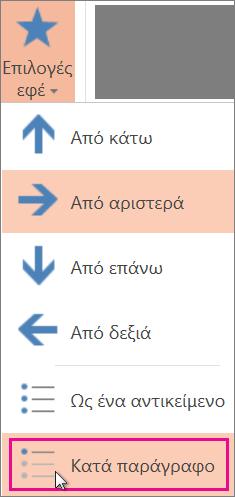 Κίνηση κατά παράγραφο