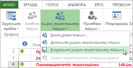 Ενημέρωση χώρου συγκέντρωσης πόρων μετά την επεξεργασία πόρων σε ένα αρχείο στοιχείου κοινής χρήσης