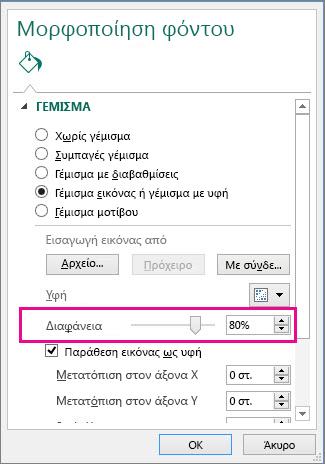 Ρυθμιστικό διαφάνειας για τη μορφοποίηση φόντου