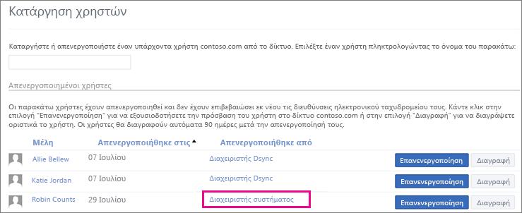 Στιγμιότυπο οθόνης που εμφανίζει έναν χρήστη που καταργήθηκε από το διαχειριστή συστήματος.