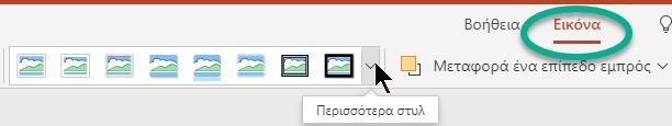 Η καρτέλα «Εικόνα στην κορδέλα» είναι διαθέσιμη όταν είναι επιλεγμένη μια εικόνα στη διαφάνεια.