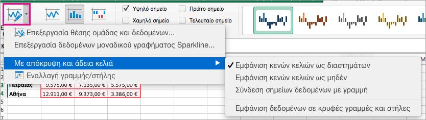 """Στην καρτέλα """"Σχεδίαση Sparkline, επιλέξτε """"Επεξεργασία δεδομένων"""""""