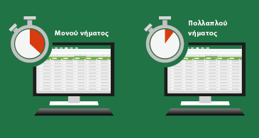 Δύο φύλλα εργασίας σε παράθεση με ένα χρονόμετρο στην επάνω δεξιά γωνία