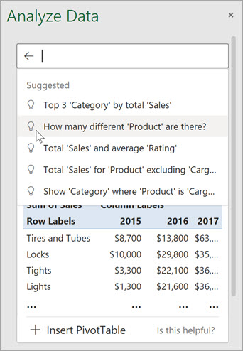 Η ανάλυση δεδομένων Excel θα σας δώσει προτεινόμενες ερωτήσεις με βάση μια ανάλυση των δεδομένων σας.