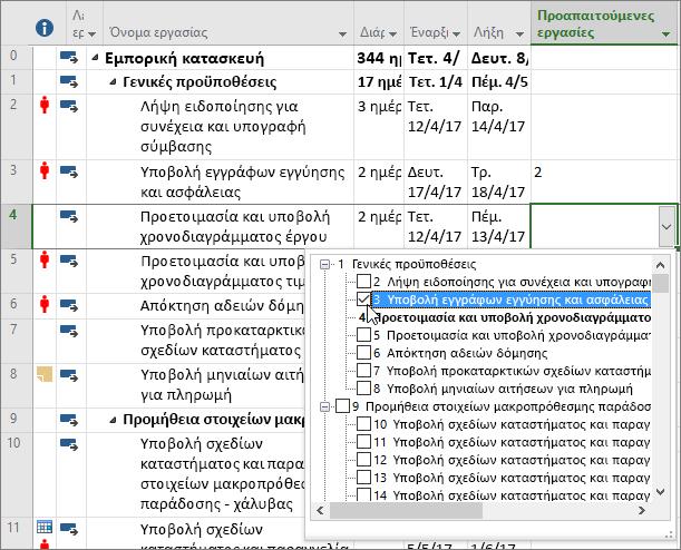 Στιγμιότυπο οθόνης του αναπτυσσόμενου μενού της στήλης προαπαιτούμενων στο Project