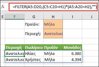 Χρήση της συνάρτησης FILTER με τον τελεστή πολλαπλασιασμού (*) για να επιστραφούν όλες οι τιμές στην περιοχή πίνακα (A5:D20) που έχουν Μήλα ΚΑΙ βρίσκονται στην Ανατολική περιοχή.