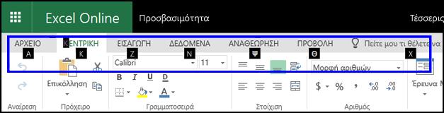 """Κορδέλα του Excel Online που εμφανίζει την """"Κεντρική"""" καρτέλα και συμβουλές πλήκτρων συντόμευσης σε όλες τις καρτέλες"""