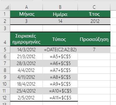 Αύξηση ή μείωση μιας ημερομηνίας κατά έναν ορισμένο αριθμό ημερών