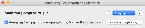 Παράθυρο Αυτόματης Ενημέρωσης της Microsoft όταν υπάρχουν διαθέσιμες ενημερώσεις.