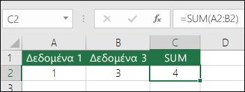 Η συνάρτηση SUM προσαρμόζεται αυτόματα κατά την εισαγωγή ή τη διαγραφή γραμμών και στηλών