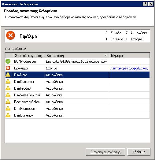 Μηνύματα κατάστασης ανανέωσης δεδομένων στο PowerPivot