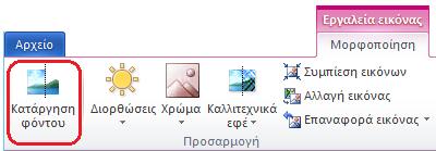 """Το κουμπί """"Κατάργηση φόντου"""" στην καρτέλα """"Μορφοποίηση εργαλείων εικόνας"""" ή στην κορδέλα του Office 2010"""