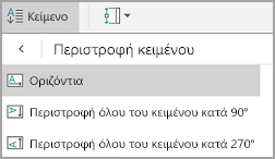Περιστροφή κειμένου Android πίνακα