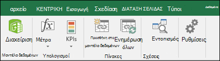 Power Pivot μενού στην κορδέλα του Excel