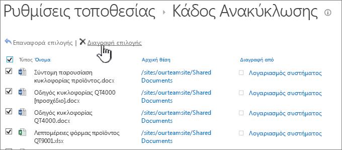 SharePoint 2013 2η επίπεδο Ανακύκλωσης με όλα τα στοιχεία επιλεγμένα και διαγραφή επισημασμένο το κουμπί